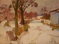 Russian Ukrainian Oil Painting Impressionism Landscape Winter Village