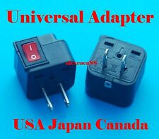 UK US EU AUS to USA Japan Canada Universal Travel Adaptor AC Power Plug + Switch