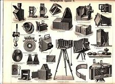 1894 OLD PHOTO CAMERAS Antique Engraving Print