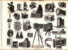 1894 OLD PHOTO CAMERAS Antique Engraving Print