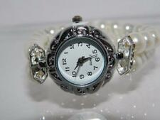 Women's Simulated Pearl White  Bracelet watch ,Arabic White Dial ,stone set bars