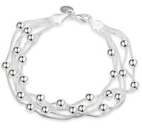 "7.8"" Italian Classic Bubble Strands Bracelet in 18K White Gold Plated ITALY"