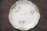 Antique JEAN POUYAT plate,Limoges,France-c1905-1911,flowers, gold&green[86