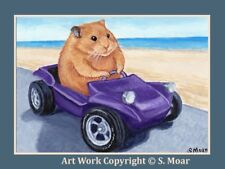 Hamster Driving Car Dune Buggy Summer Beach ACEO Limited Edition Art Print