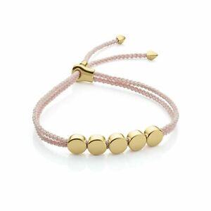 Monica Vinader Ballet Pink 18ct Gold Linear Bead Friendship Bracelet - RRP £135