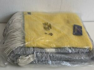 Tweedmill Grey & Yellow Throw or Blanket 100% Pure New Wool UK Made