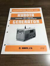 Genuine Kubota Gv3240 Gv3240sw Generator Parts Book Catalog Manual