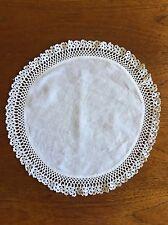 Vintage Hand Crocheted White Doily 29cm Cotton  Antique Crochet