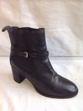 Zara Woman Negro Tobillo Botas De Cuero Talla 37