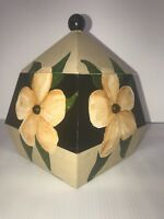 """Hibiscus Flower Wooden Box Yellow Floral Handmade Hand painted 8""""x6""""x6"""""""