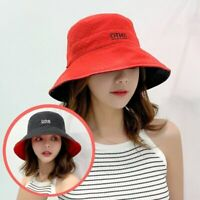 Women Summer Foldable Bucket Hat Cotton Sunscreen Two-sided Fisherman Casual Cap