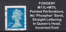 2017 Machin 2nd Class Blue SG U3013 FORGERY MI7L+MTIL Used Stamp EXTREMELY RARE