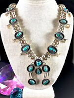 """VINTAGE NAVAJO STERLING SILVER BISBEE BLUE TURQUOISE SQUASH BLOSSOM 26"""" NECKLACE"""