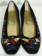 Vtg Heels Size 8 Y2K New Years 2000 Yuppie Party Shoes Beaded Embroidered 90's