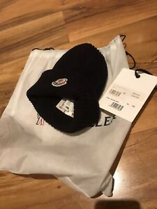 MONCLER MENS BEANIE HAT NAVY BLUE BERETTO WITH HOLOGRAM CODE TAGS AND DUST BAG