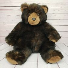 "Fao Schwarz 20"" Large Black Brown Grizzly Teddy Bear Plush"