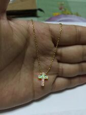 "Pink Opal Small Cross 925 Sterling Silver Gold Plated  Necklace 16""-18"""