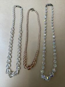% THREE VINTAGE GLASS BEADED CRYSTAL NECKLACES %