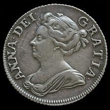 1708 chelín plata de Reina Ana temprano molido, busto de terceros, ángulos Liso