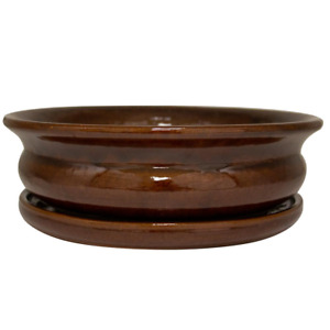 Trendspot Bowl Planter 12 in. Dia Toffee Ceramic Carafe Drainage Holes Pot New