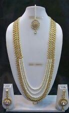 Bollywood Indian Designer Ethnic Gold Plated Fashion Pearl Kundan Jewelry Set