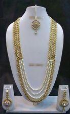 Bollywood Indian Designer Ethnic Gold Plated Fashion Pearl Kundan Jewelry Set