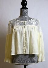 Free People Lace Ivory Button Down Peasant Boho Hippie Crop Top Long Sleeve S