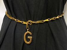 """Vintage 1970s Authentic Gucci Gold Tone G Logo Chain Link Belt or Necklace 32.5"""""""