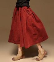 Womens Vintage Corduroy High Waist Long Tutu Skirt Elastic Big Hemline Dress