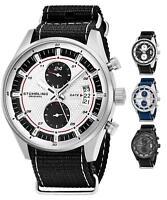 Stuhrling 845 Men's Chronograph Dual Time Nylon Strap TruTime Racer Sport Watch