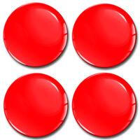 4x 50mm 3D Gel Car Wheel Centre Hub Center Rim Red Silicone Gloss Stickers Caps