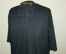 VTG 90s Black/Gray Herringbone Knit T Shirt ~ Tie/Lace Up ~ INDIE/Hipster ~XXL