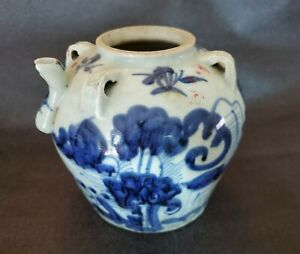 """Chinese Antique Blue & White Porcelain Wine/Tea/Water Pot 6"""" Inches 1.8 Pounds"""