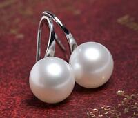 Genuine 8mm White Freshwater Pearl 925 Sterling Silver Hook Drop/Dangle Earrings