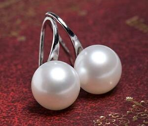 Genuine 9.5-10mm White Freshwater Pearl 925 Sterling Silver Hook Dangle Earrings