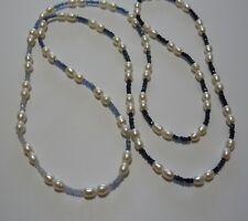 Collier  Saphir Farbverlauf, Süsswasserperlen weiß, endlos ca. 98 cm