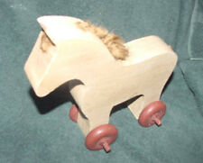 Vintage WOODEN PONY HORSE FARM ANIMAL PUSH TOY ROLLING WHEELS  ~ HANDCRAFTED