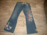 Lucky Brand Lil Maggie Distressed Embroidered Jean Floral Size 10/30 #8484