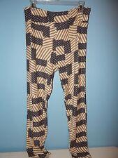 Lularoe Leggings Americana Flags -  Gray / Cream  - TC
