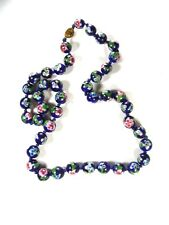 """Chinese Dark Blue Green Flower Bead Knotted Necklace 24"""" Unbranded 81915"""