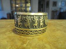 MUSEUM Vintage Hopi GARY YOYOKIE Sterling Silver Overlay PEYOTE DANCER Bracelet