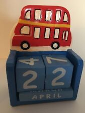 Big Red Bus Wooden Perpetual Calendar
