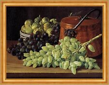 Still Life with Grapes, Figs, and a Copper Kettle Melendez Kupfertopf B A3 02841