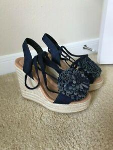 Kate Spade New York Daisy Blue Denim Wedge Espadrille Size 6.5 US NIB
