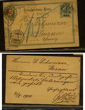 Austria  postal card to  Switzerland  postage due  1906           KEL0319