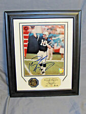 Peyton Manning Autographed 8x10 Colts Framed Photo & Coin Highland Mint COA