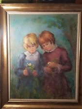 """Wonderful sentimental all original art """"Sisters playing with flowers"""" by HOFFMAN"""