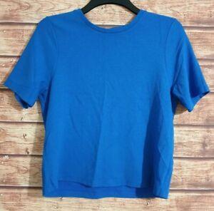 Womens Top BLUE Short Sleeved PAPAYA WEEKEND Smart T-Shirt Size UK-16 VGC