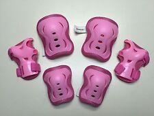 Kid's Roller Blading Wrist Elbow Knee Pads Blades Guard 6 PCS Set Pink