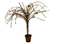 "11"" Primitive Willow Tree & Pip Berry with Rusty Stars in Rusty Metal Bucket New"